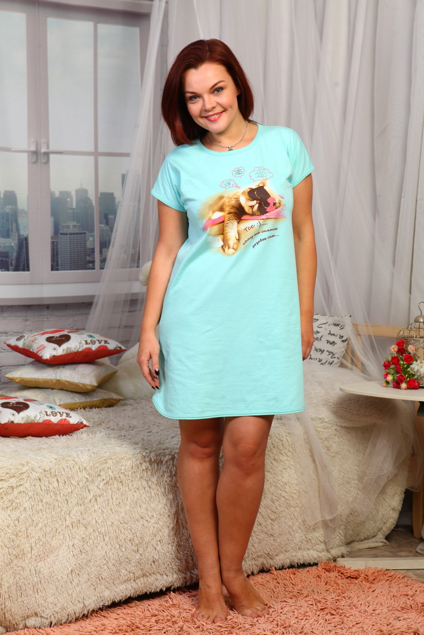 Сорочка ночная женская Kitiс котомДля дачи и огорода<br><br><br>Размер: 44