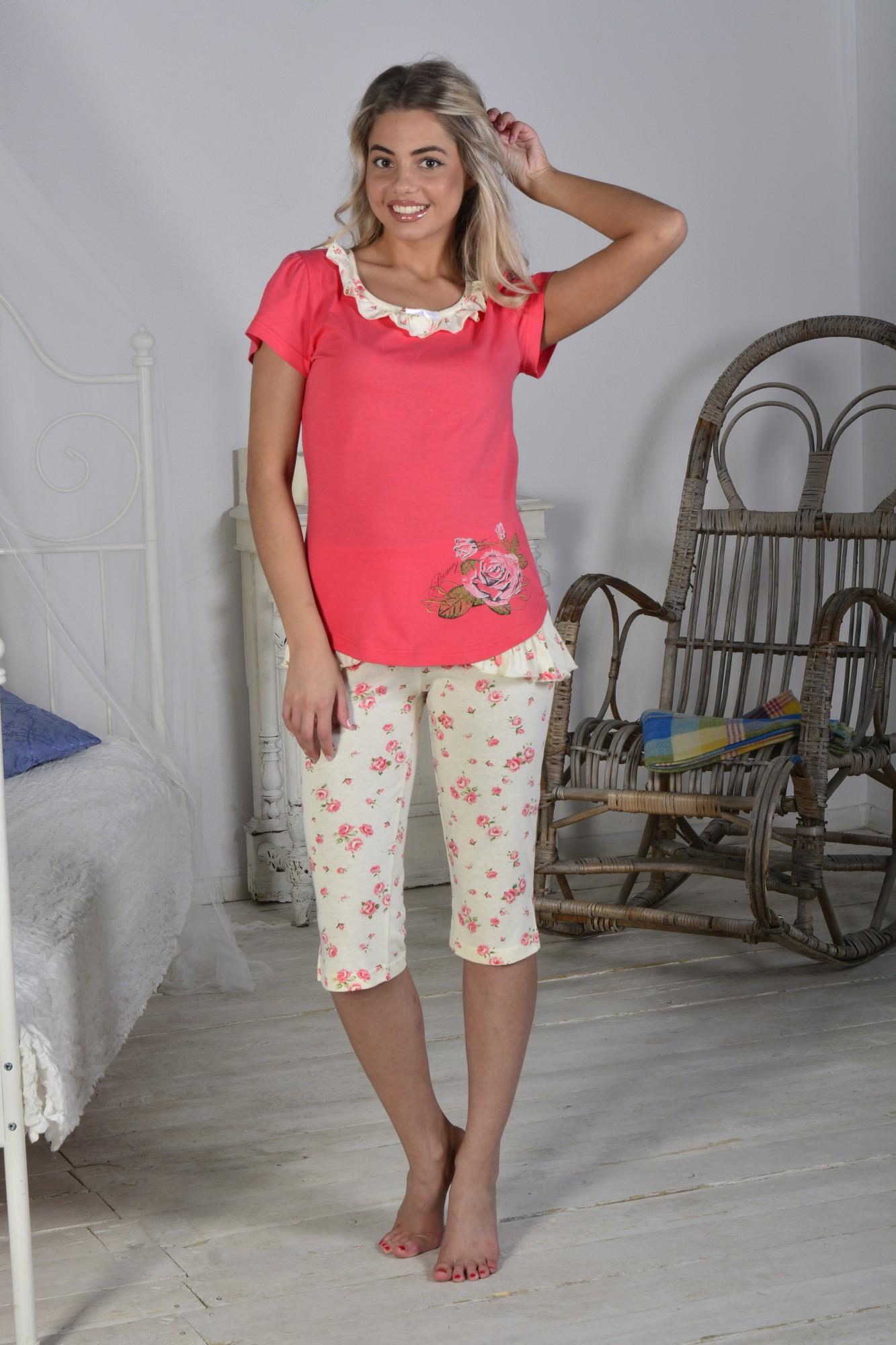 Костюм женский Бутон футболка + бриджиДомашние комплекты, костюмы<br><br><br>Размер: 46