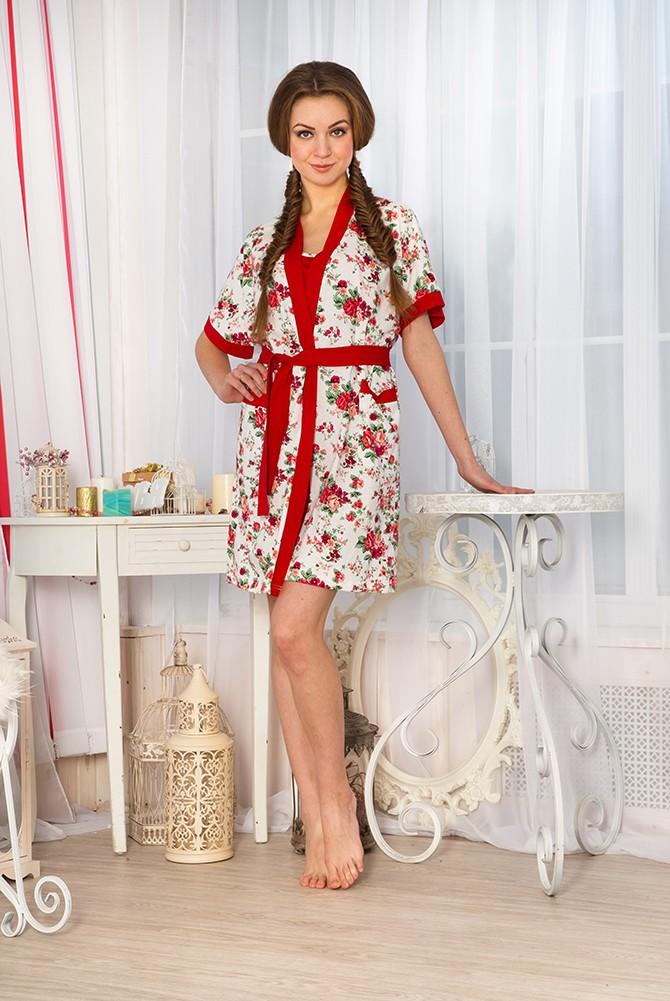 Комплект женский Феерия халат +сорочкаСорочки<br><br><br>Размер: 48