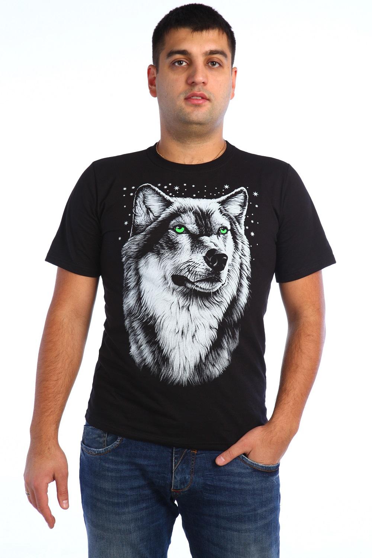 Футболка мужская Волк с коротким рукавомФутболки<br><br><br>Размер: 58