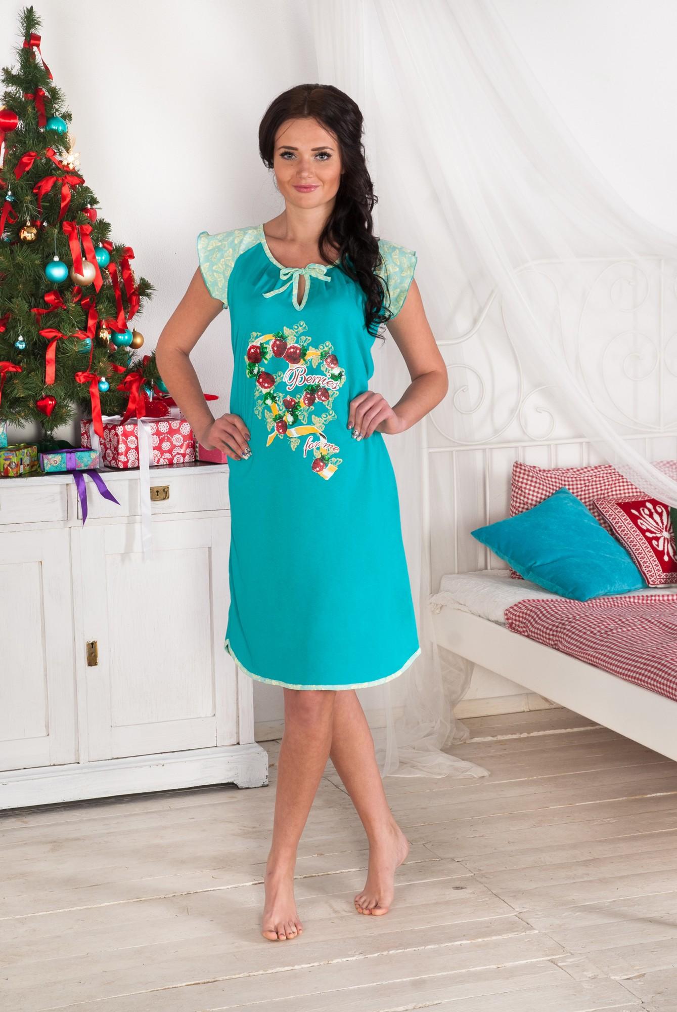 Сорочка женская Карамель с коротким рукавомСорочки<br><br><br>Размер: красный