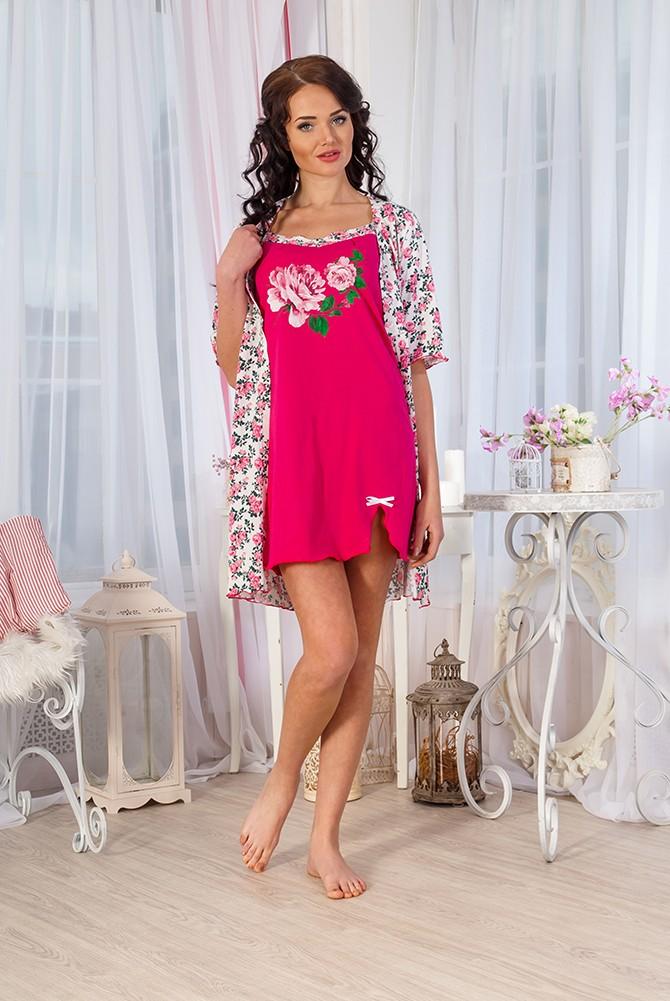 Комплект женский Флоренция  сорочка + халатСорочки<br><br><br>Размер: 48