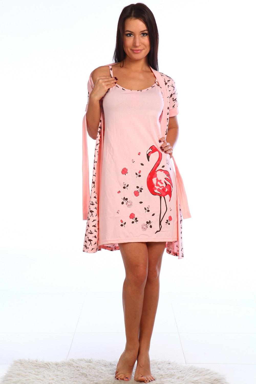 Комплект женский Пеликан  сорочка + халатПеньюары<br><br><br>Размер: розовый