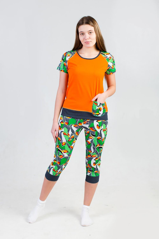 Костюм женский Тропики футболка +бриджиКостюмы<br><br><br>Размер: 52