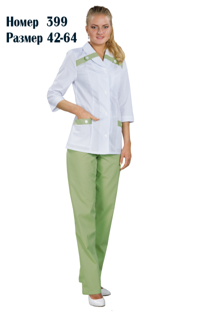 Костюм женский медицинский с брюками 3/4 рукав №399Костюмы, кофты, брюки<br><br><br>Размер: 54