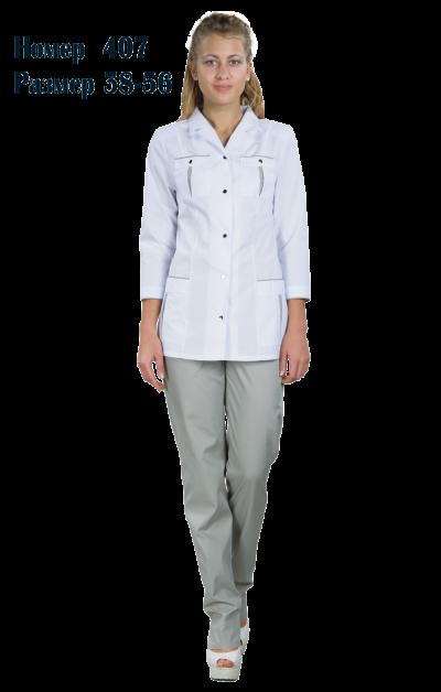 Костюм женский медицинский с брюками 3/4 рукав №407Костюмы, кофты, брюки<br><br><br>Размер: 48