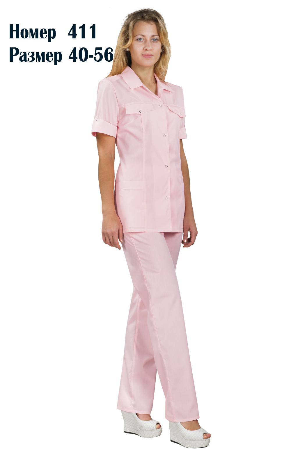 Костюм женский медицинский с брюками 3/4 рукав №411Костюмы, кофты, брюки<br><br><br>Размер: 56