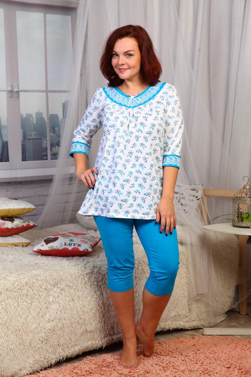 Пижама женская Филиция3/4 рукавПижамы<br><br><br>Размер: голубой