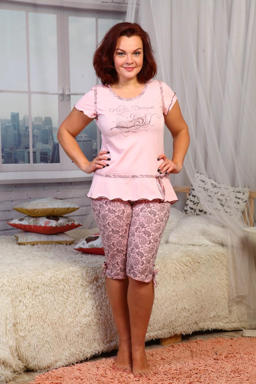 Пижама женская Пушинка 2 с коротким рукавом и бриждамиПижамы<br><br><br>Размер: 50