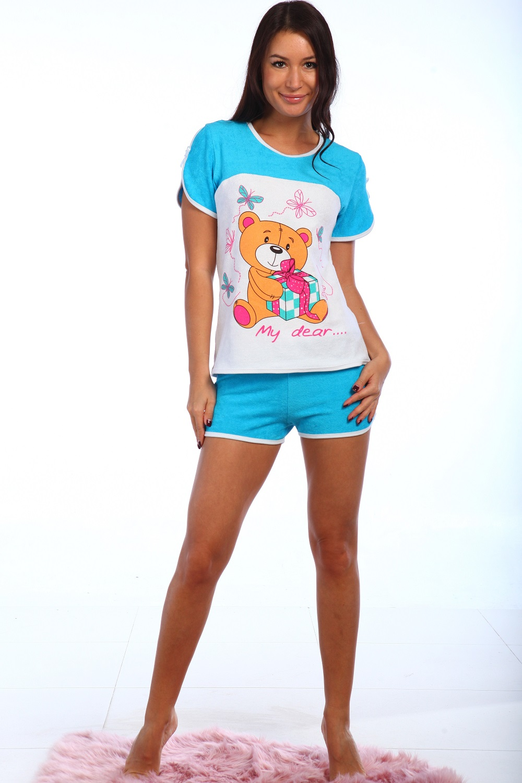 Пижама женская Игрушка шорты +майкаПижамы<br><br><br>Размер: голубой