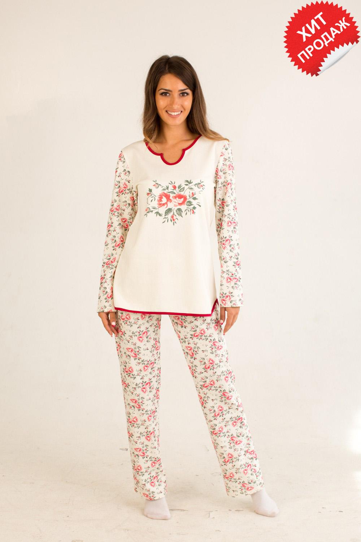 Пижама женская Вероникас длинным рукавомДомашняя одежда<br><br><br>Размер: 44