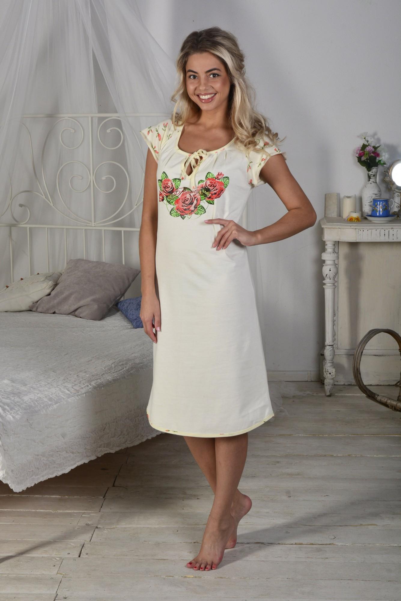 Сорочка женская Алла с коротким рукавомСорочки<br><br><br>Размер: 52