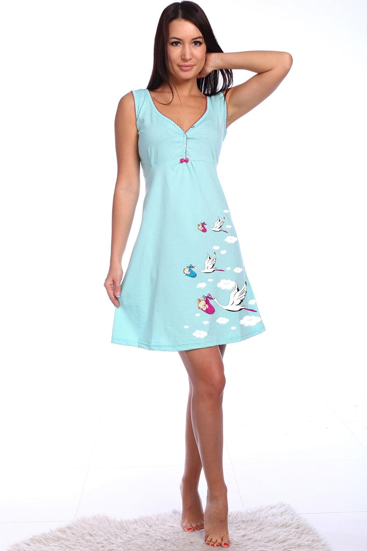 Сорочка женская Анастасия на широких бретеляхСорочки<br><br><br>Размер: бирюзовый