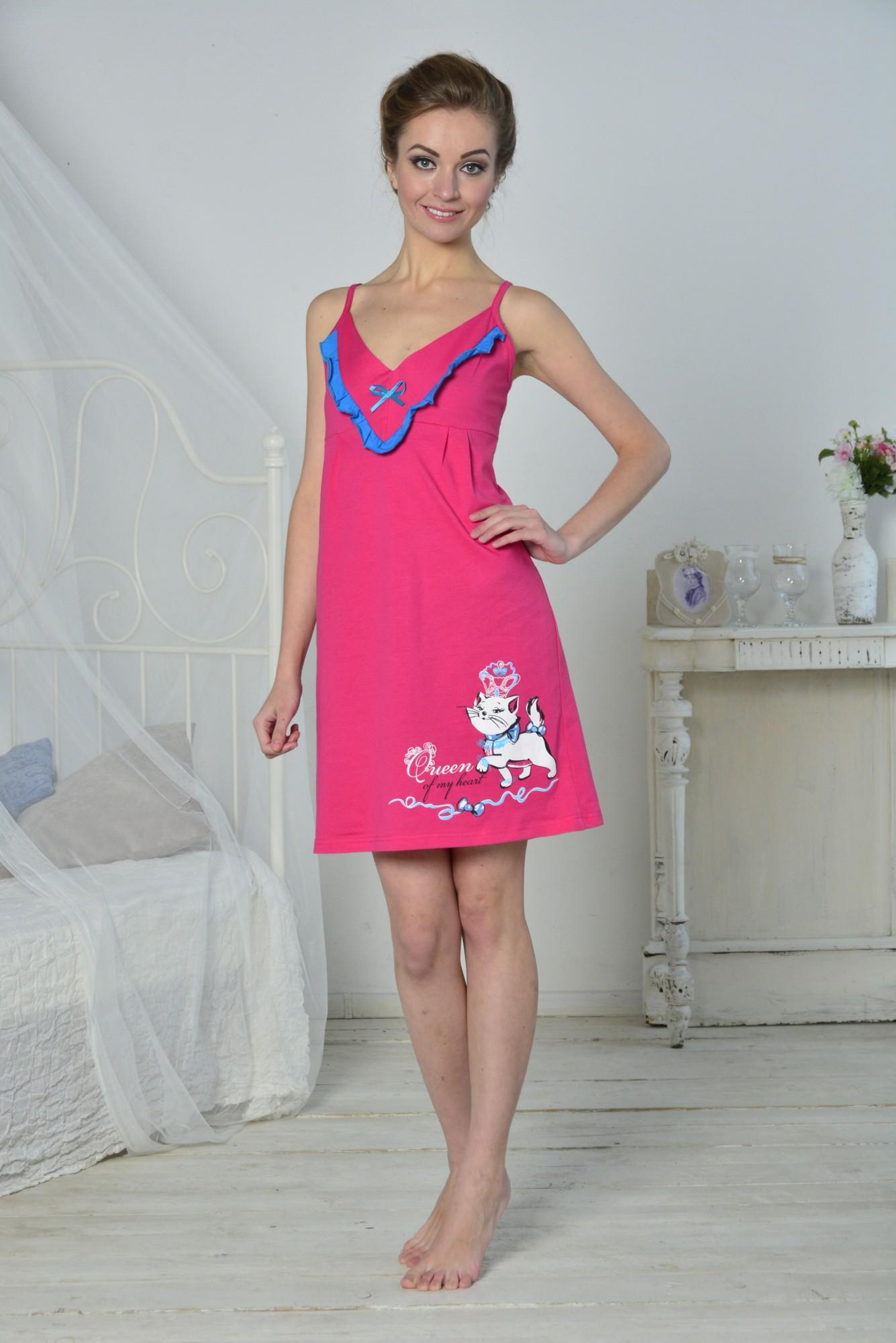 Сорочка женская Королевана тонких бретеляхСорочки<br><br><br>Размер: 42
