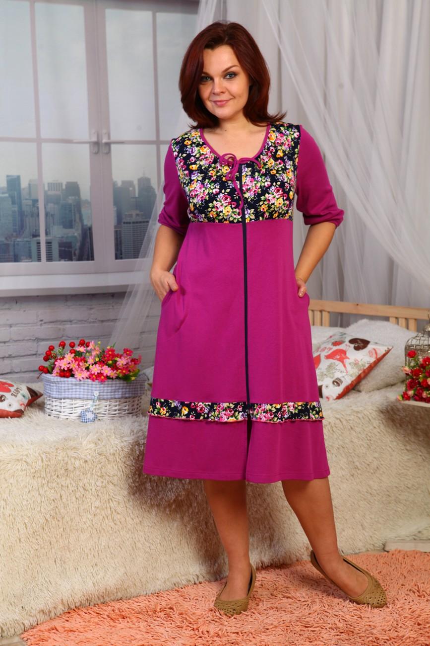 Халат женский Катерина с 3/4 рукавомДомашняя одежда<br><br><br>Размер: 52
