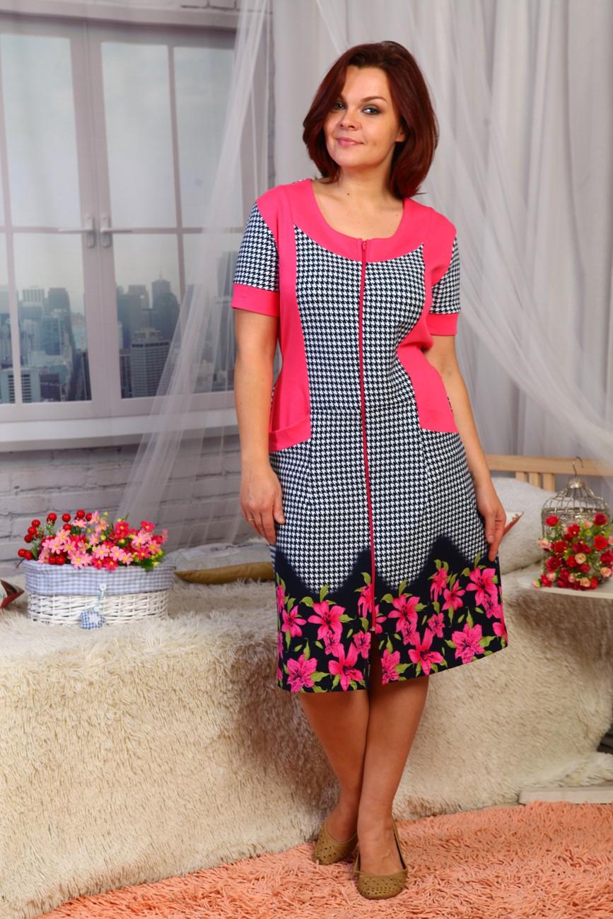 Халат женский Лилияс коротким рукавом на молнииДомашняя одежда<br><br><br>Размер: 50