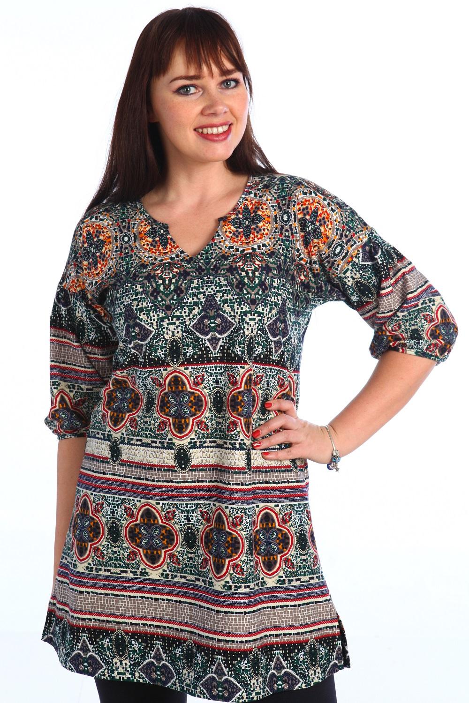 Туника женская Узор с коротким рукавомТуники, рубашки и блузы<br><br><br>Размер: 64