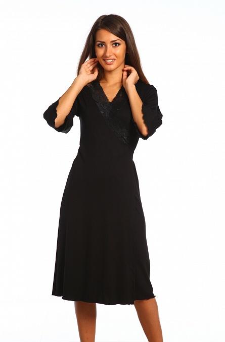 Халат женский Оливия с рукавом 3\4 черныйДомашняя одежда<br><br><br>Размер: 48