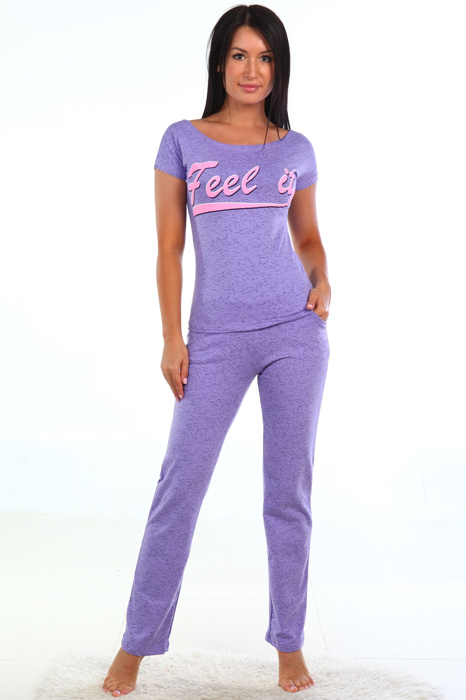 Костюм женский Ариэль футболка и брюкиДомашние комплекты, костюмы<br><br><br>Размер: Фиолетовый