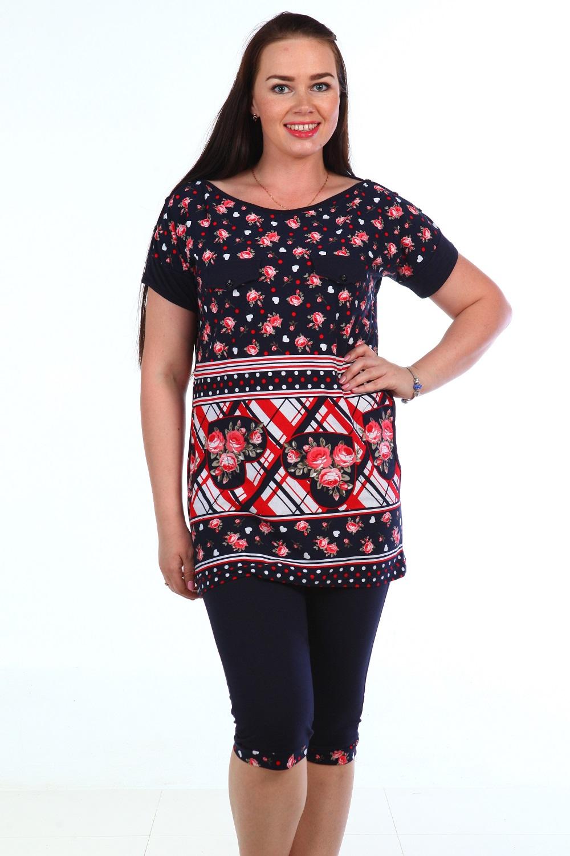 Костюм женский Рима футболка и бриджиКостюмы<br><br><br>Размер: 56