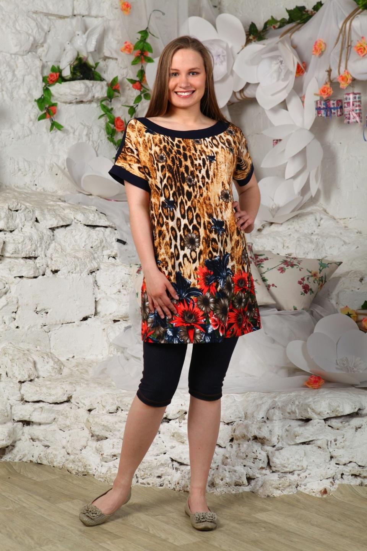 Туника женская ЛеопардТуники, рубашки и блузы<br><br><br>Размер: 48