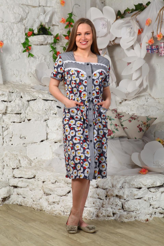 Халат женский Маргаритки на пуговицахДомашняя одежда<br><br><br>Размер: 60