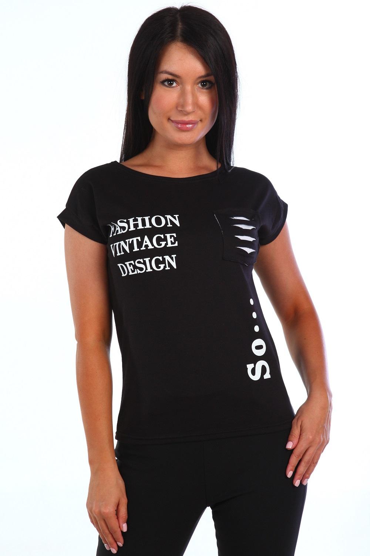 Футболка женская FashionФутболки и майки<br><br><br>Размер: Чёрный