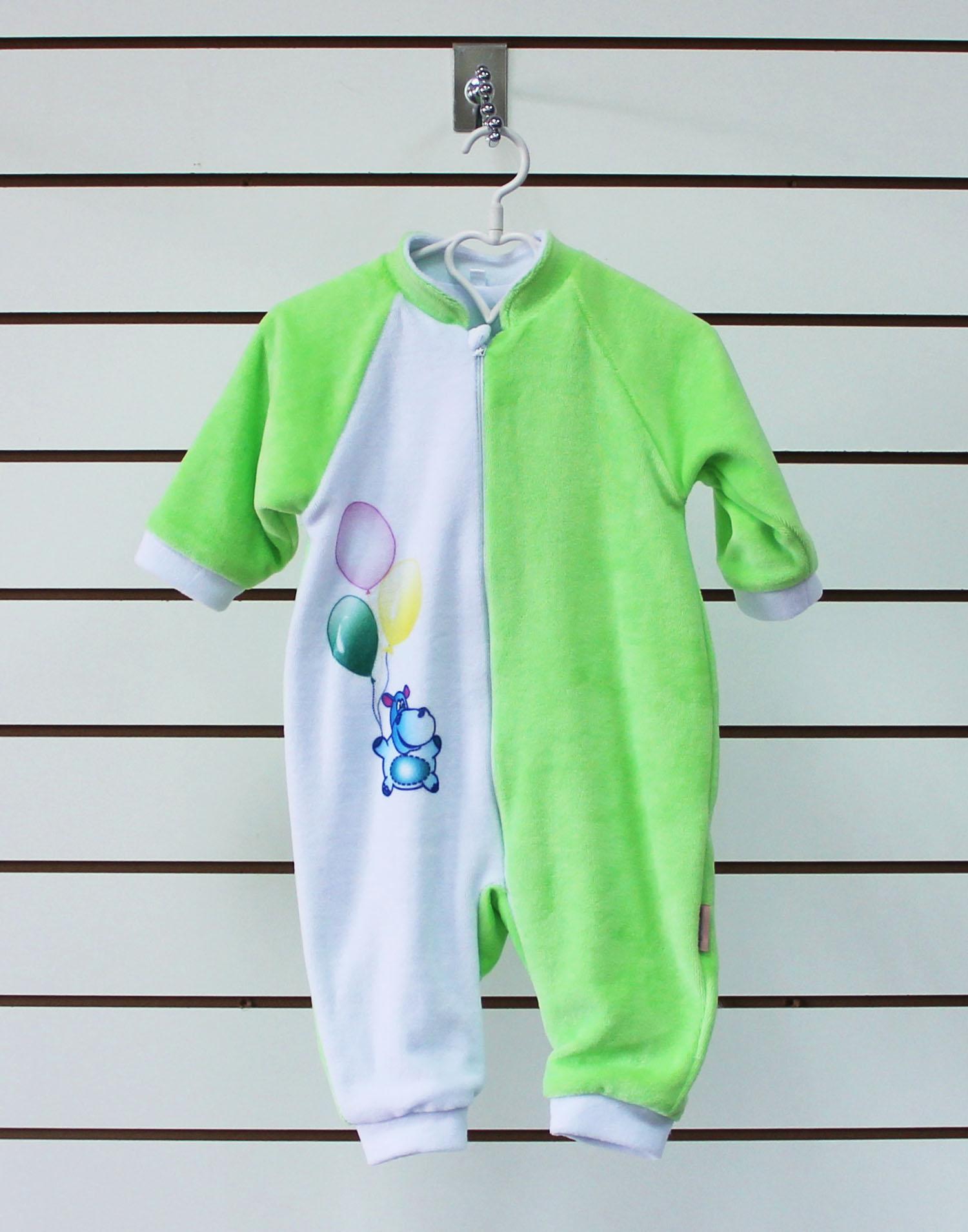 Комбинезон детский велюровый БегемотикКомбинезоны и полукомбинезоны<br><br><br>Размер: 22 (рост 74 см)