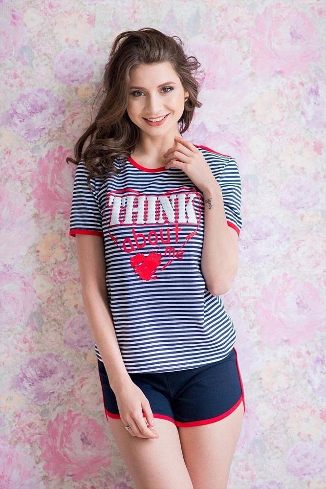 Костюм женский Сердце футболка и шортыДомашние комплекты, костюмы<br><br><br>Размер: 46