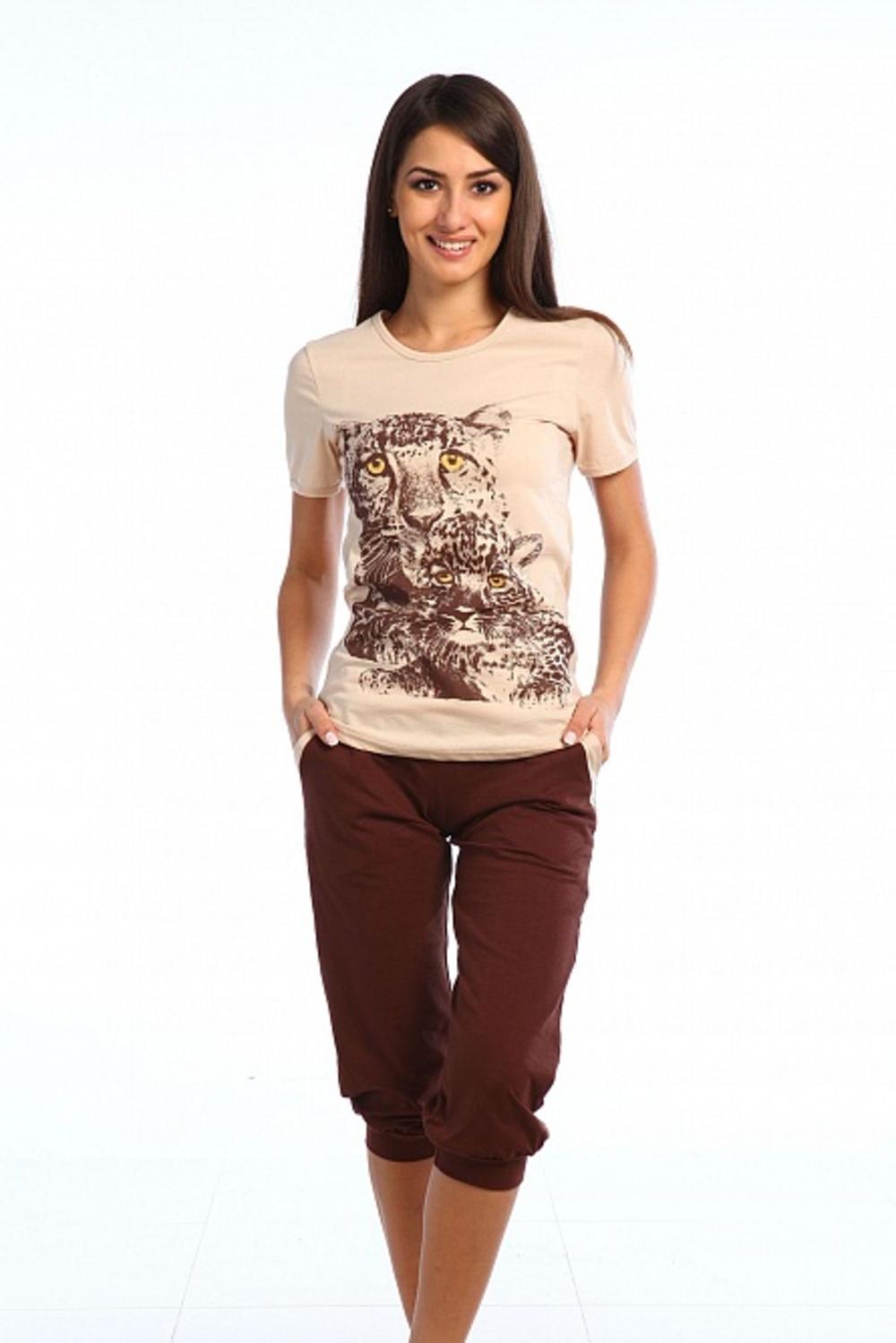Комплект женский Леопард футболка и бриджиДомашние комплекты, костюмы<br><br><br>Размер: 48