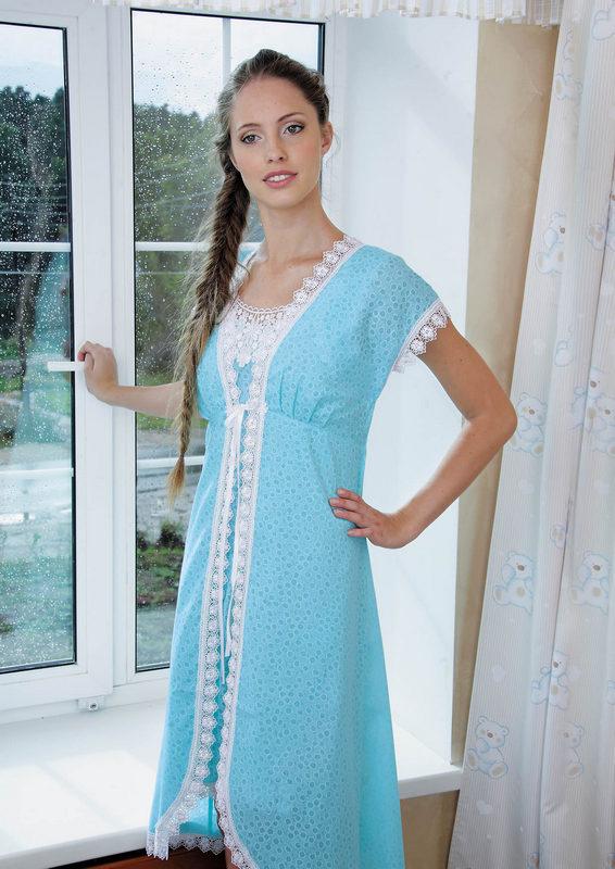 Пеньюар женский Весна халат и сорочкаПеньюары<br><br><br>Размер: Голубой