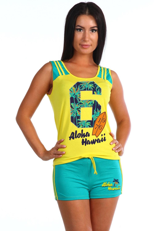 Костюм женский Алоха майка и шортыКоллекция ВЕСНА-ЛЕТО<br><br><br>Размер: Жёлтый