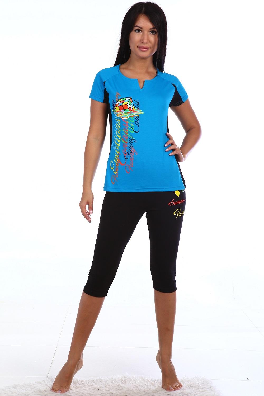 Костюм женский Калейдоскоп футболка и бриджиКостюмы<br><br><br>Размер: розовый