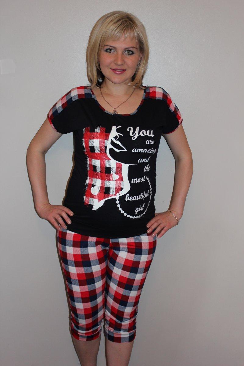 Костюм женский Милашка футболка и бриджиКостюмы<br><br><br>Размер: 54