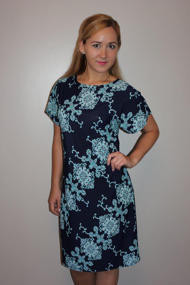 Платье женское Голубое кружевоПлатья и сарафаны<br><br><br>Размер: 60
