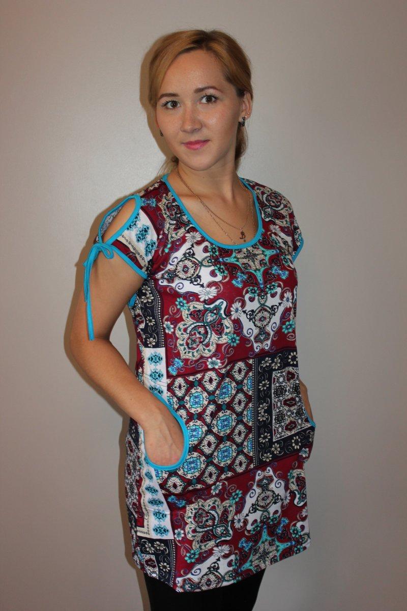 Туника женская Восточный узорТуники, рубашки и блузы<br><br><br>Размер: 58