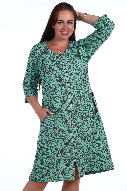 Халат женский НюраДомашняя одежда<br><br><br>Размер: Бирюзовый