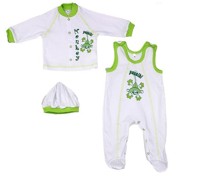 Комплект для новорожденного Обезьянка кофточка, полукомбинезон и беретКостюмы, комплекты одежды<br><br><br>Размер: 24 (рост 74 см)