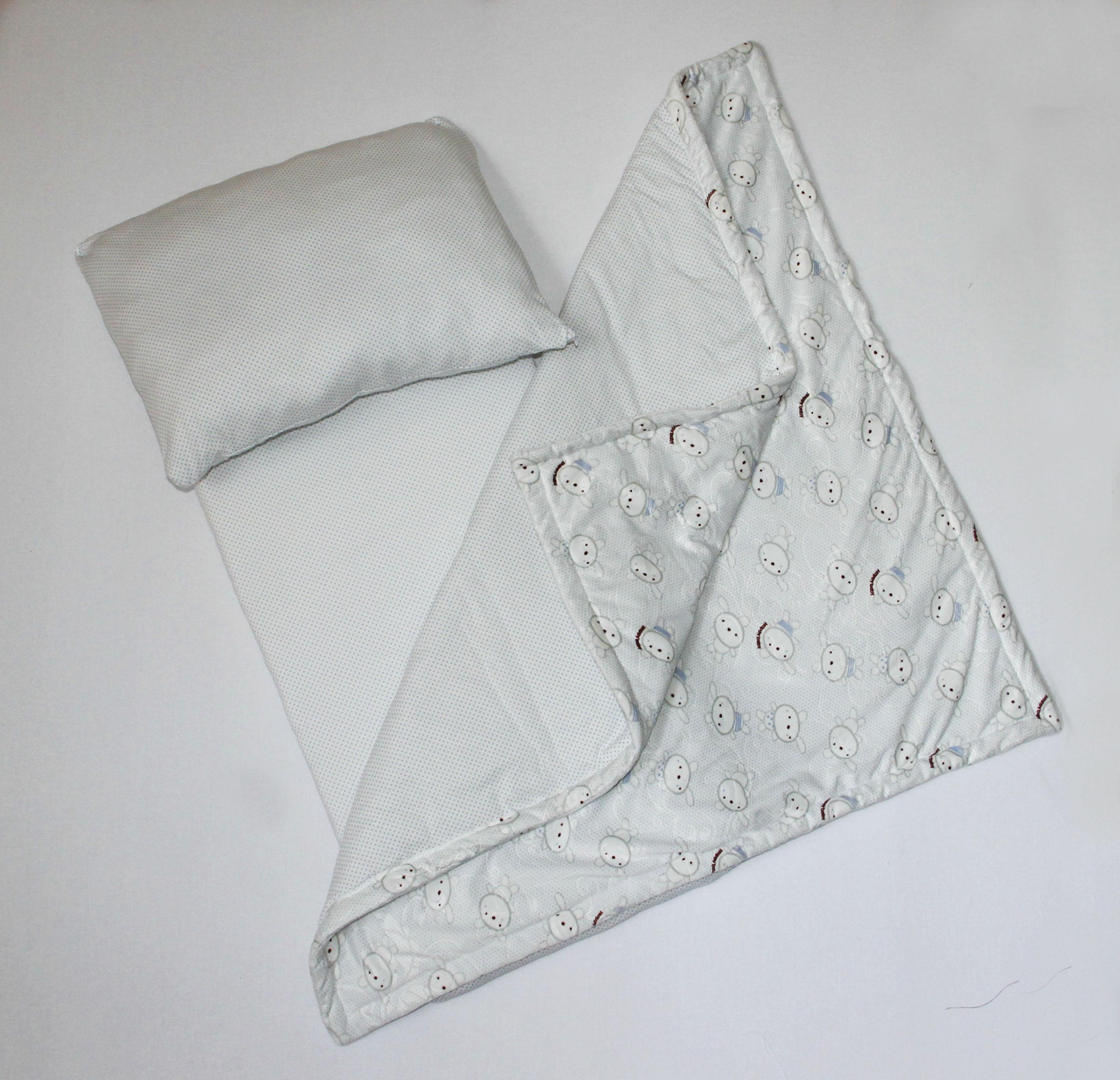 Комплект к коляску Зайка подушка, матрац и пледКомплекты в коляску, кроватку<br><br><br>Размер: Голубой