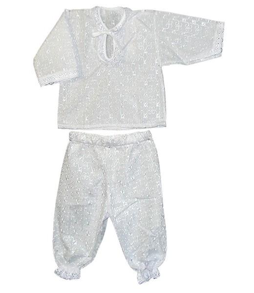 Рубашка и штанишки для крещения АнгелочекКрестильные наборы<br><br><br>Размер: 22 (рост 74 см)
