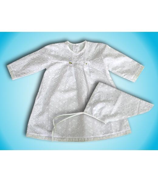 Крестильное платье и косынка АнгелинаКрестильные наборы<br><br><br>Размер: 22 (рост 74 см)