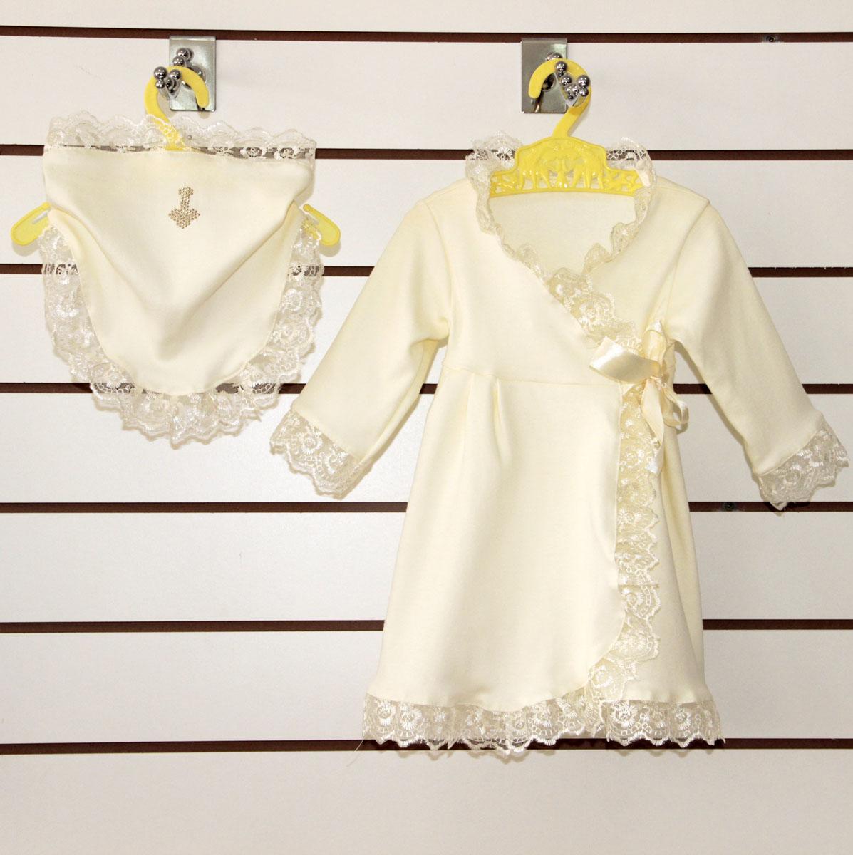 Крестильный набор Елизавета платье и косынкаКрестильные наборы<br><br><br>Размер: 20 (рост 68 см)