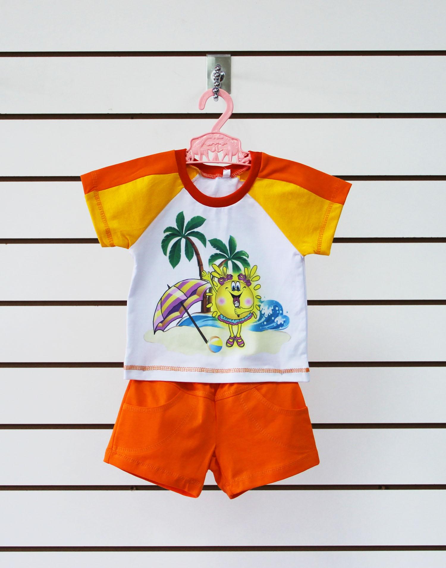 Комплект одежды детский Солнышко футболка рукав реглан и шортыКомплекты и костюмы<br><br><br>Размер: Зеленый