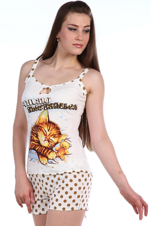 Пижама женская Баю бай майка и шортыПижамы<br><br><br>Размер: Белый