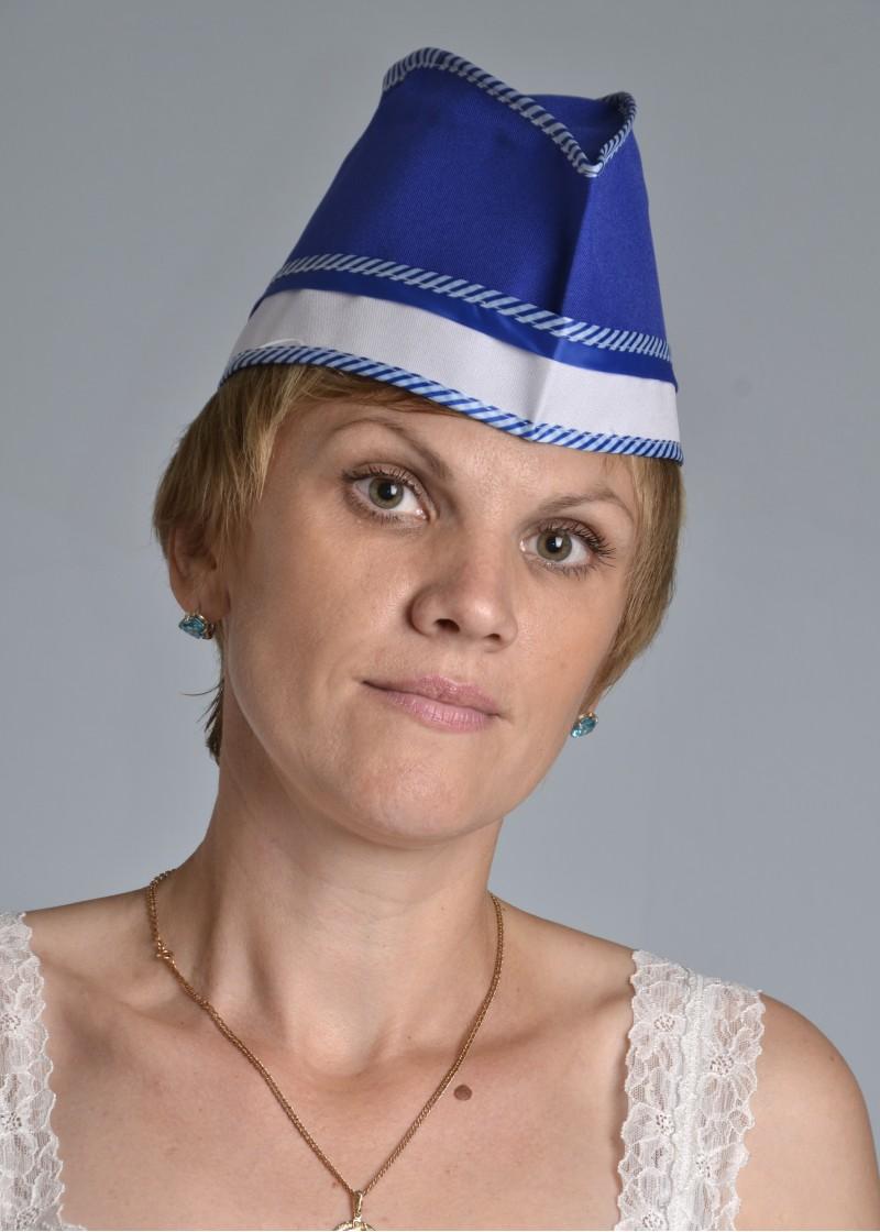 Пилотка женская АняДля общепита<br><br><br>Размер: Синий с белым