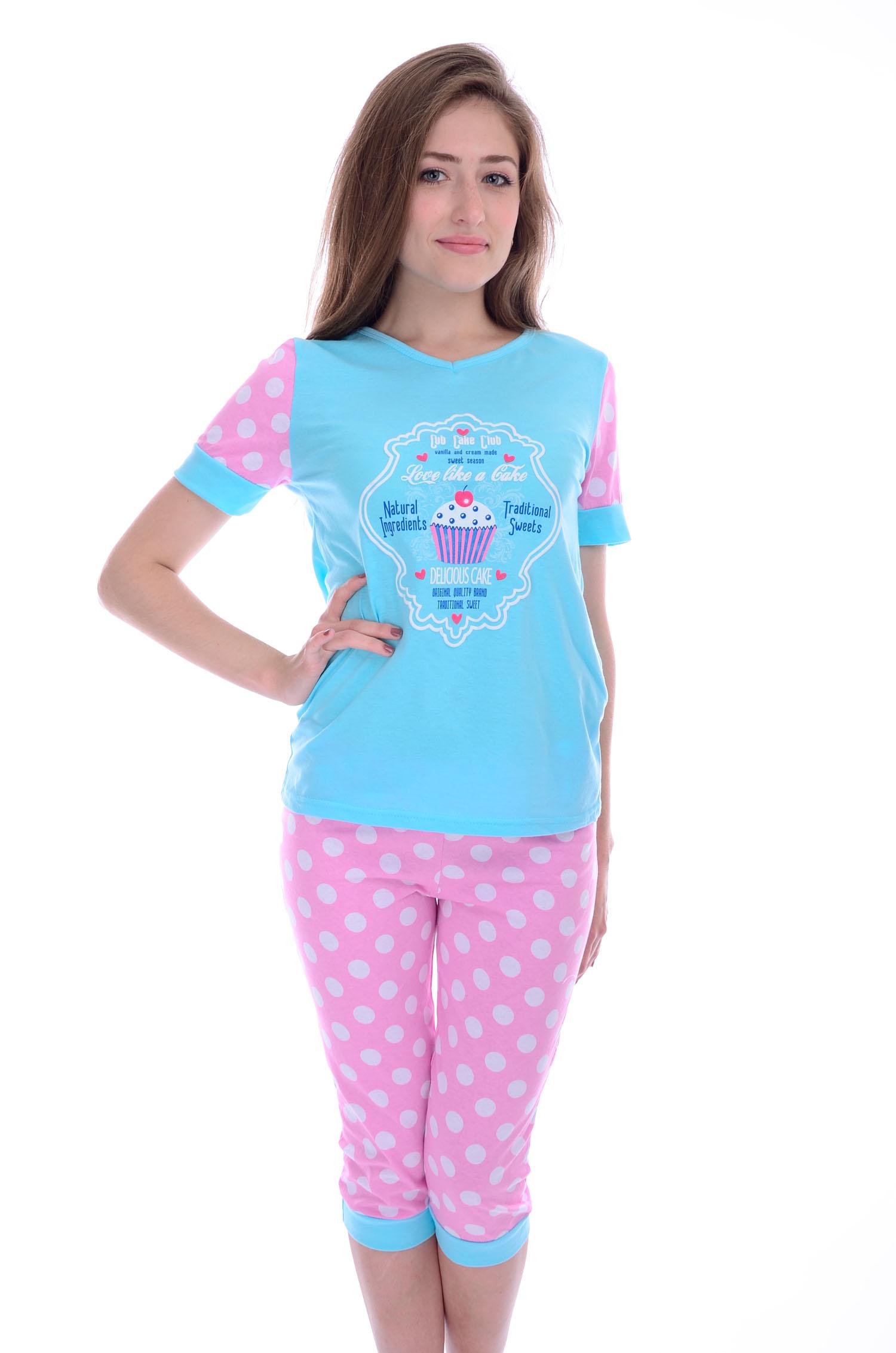 Пижама женская Маффин футболка и бриджиПижамы<br><br><br>Размер: 46