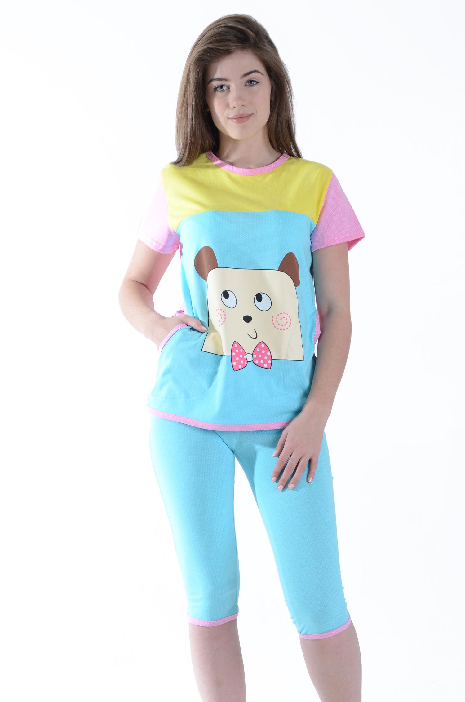 Пижама женская Барни футболка и бриджиПижамы<br><br>