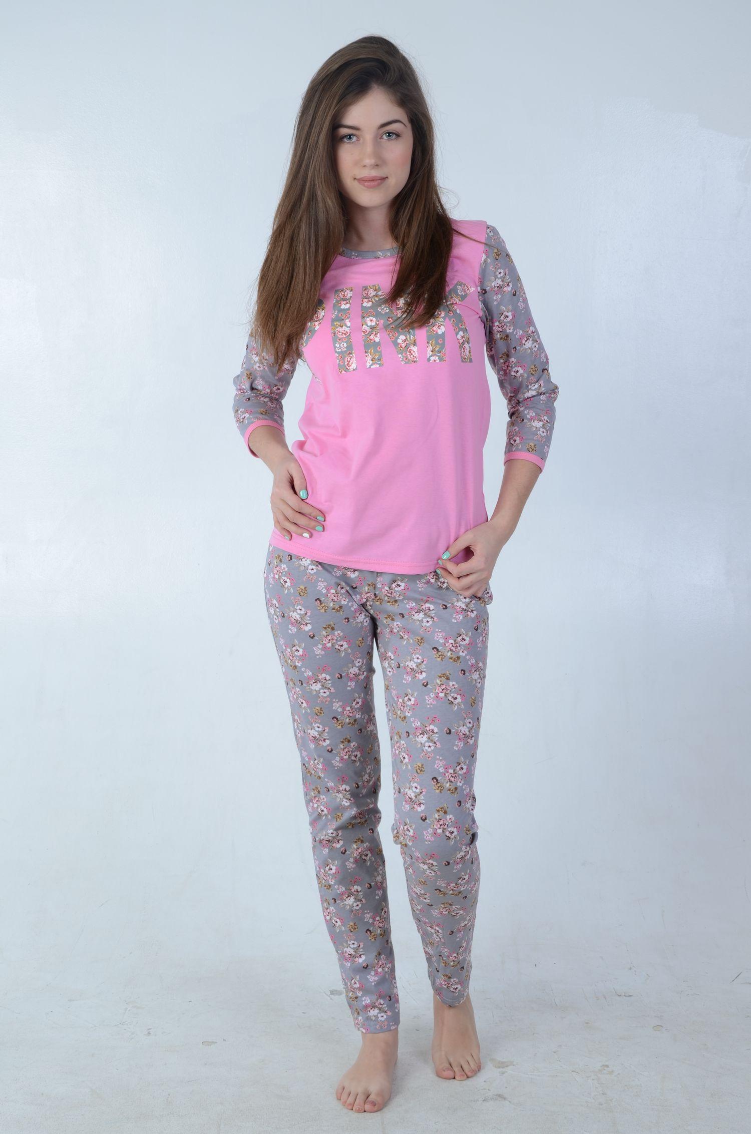 Пижама женская Пинк кофта и брюкиПижамы<br><br><br>Размер: Серый