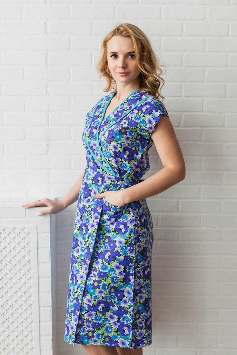 Халат женский Василек на запахДомашняя одежда<br><br><br>Размер: 60