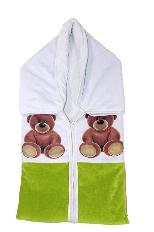 Плед детский на молнии МишуткаКомплекты в коляску, кроватку<br><br><br>Размер: Салатовый